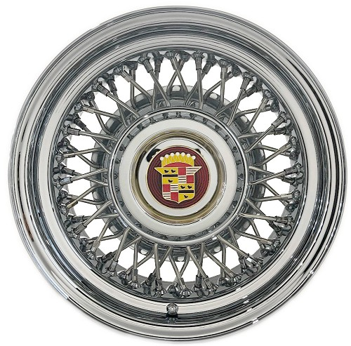 Shown is the Kelsey Hayes Style 48-Spoke Cadillac Wire Wheel. Size 15 X 6 Inches