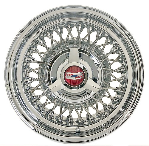 Shown is the Kelsey Hayes Style 56-Spoke Chevrolet Wire Wheel. Size 15 X 6 Inches